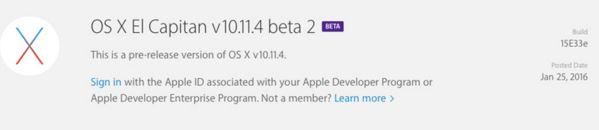 Apple merilis OS X El Capitan 10.11.4 Beta 2 untuk developer
