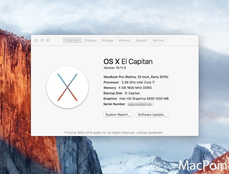 Kebutuhan Sistem Minimum OS X El Capitan