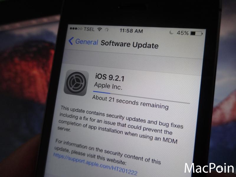 iOS 9.2.1 Sudah Dirilis dengan Berbagai Perbaikan Bugs dan Update Security