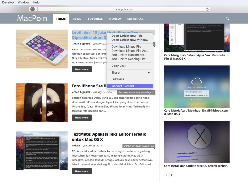 Cara Memunculkan Inspect Element (View Page Source) di Safari