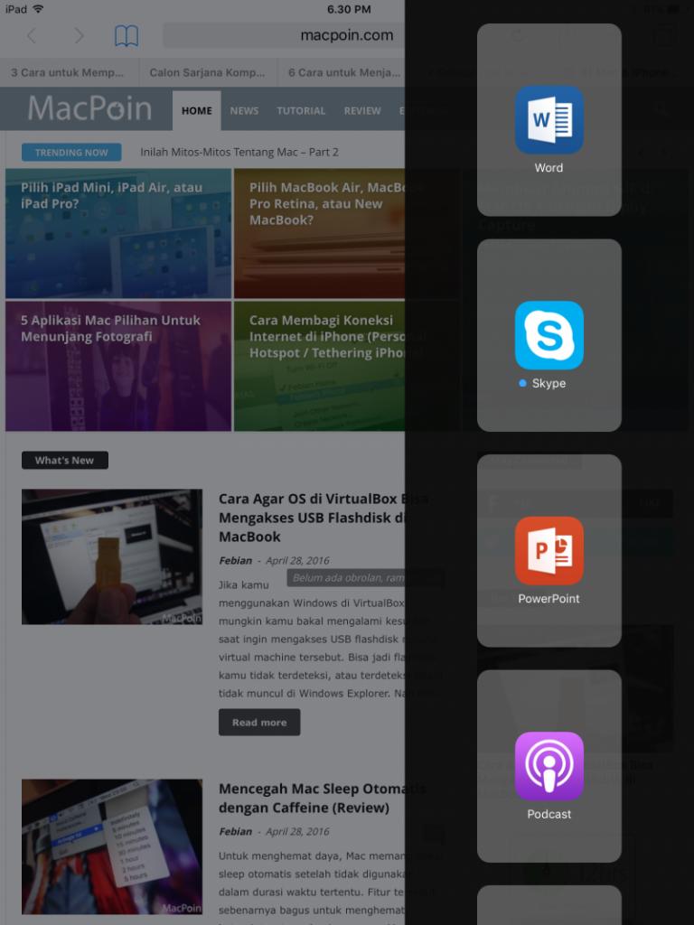 Menggunakan Split Over di iPad