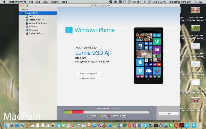 Cara menghubungkan Windows Phone ke komputer Mac