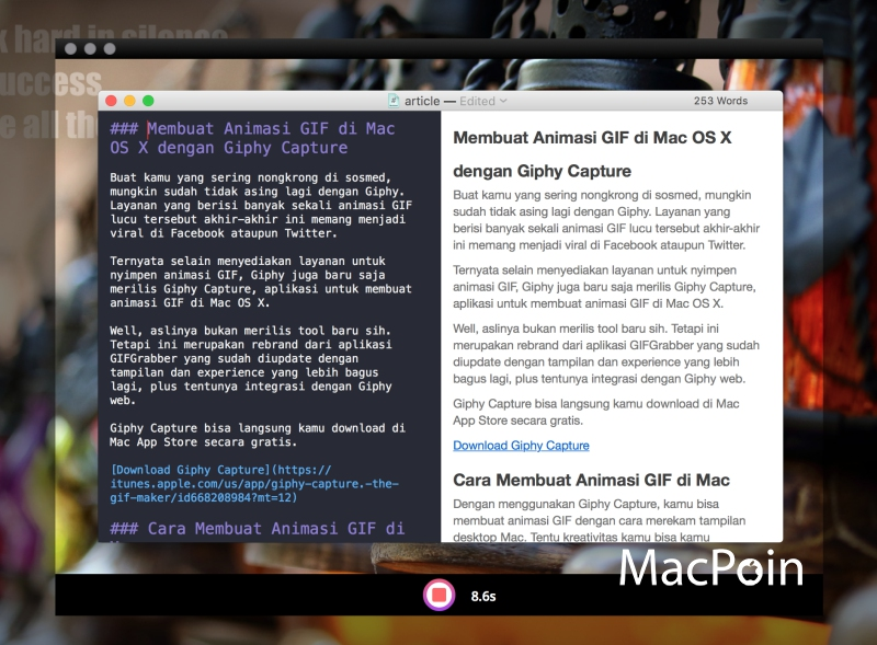 Membuat Animasi GIF di Mac OS X dengan Giphy Capture