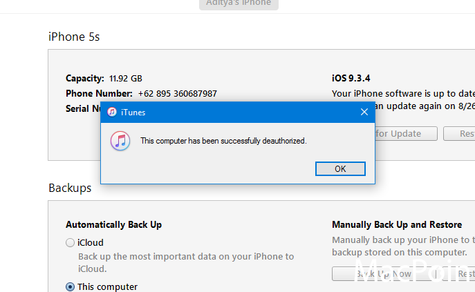 Cara Deauthorize iPhone pada iTunes di Komputer Windows (3)