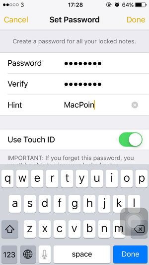 Cara Mengunci Note dengan Touch ID atau Password di iPhone iPad (1)