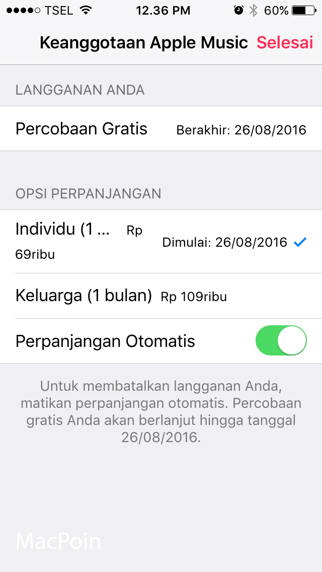 Mengubah Langganan Apple Music