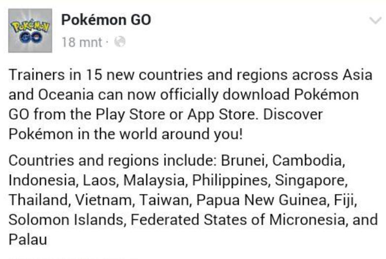 Pokemon GO Resmi Dirilis Di Indonesia