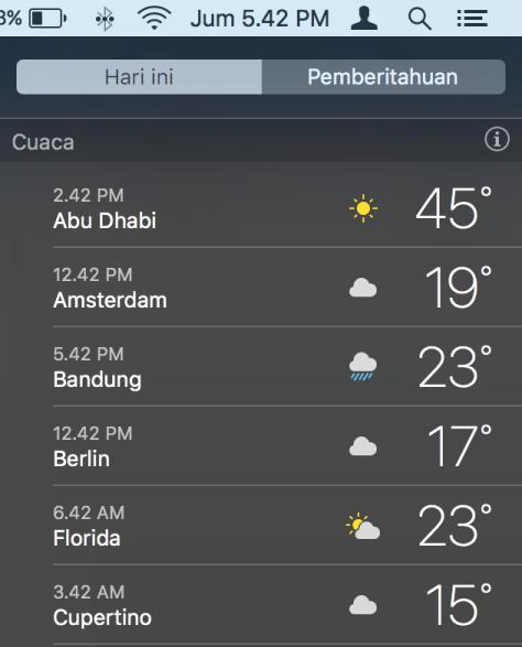 Cara Akses Cuaca di OS X Tanpa Aplikasi