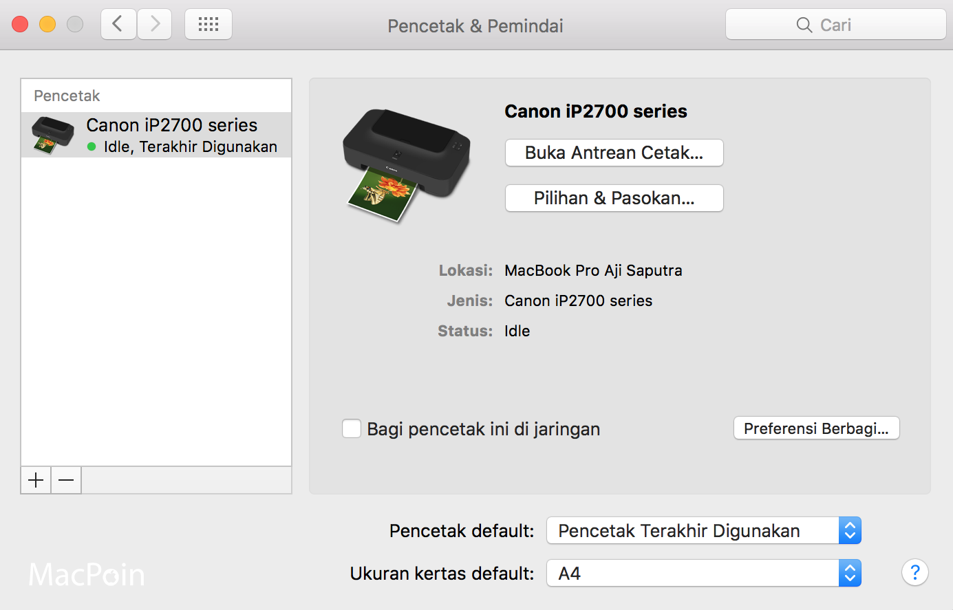 Solusi Printer Tidak Terdeteksi di Mac OS X