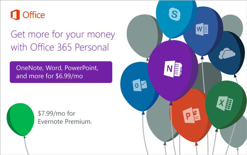 Microsoft Rayu Pelanggan Evernote Beralih ke Office 365