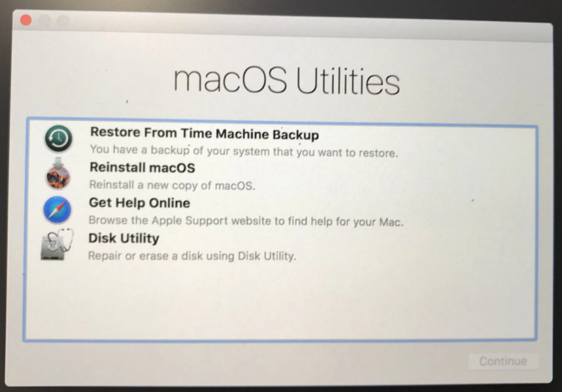 How do I restore a system image to my Macs Boot