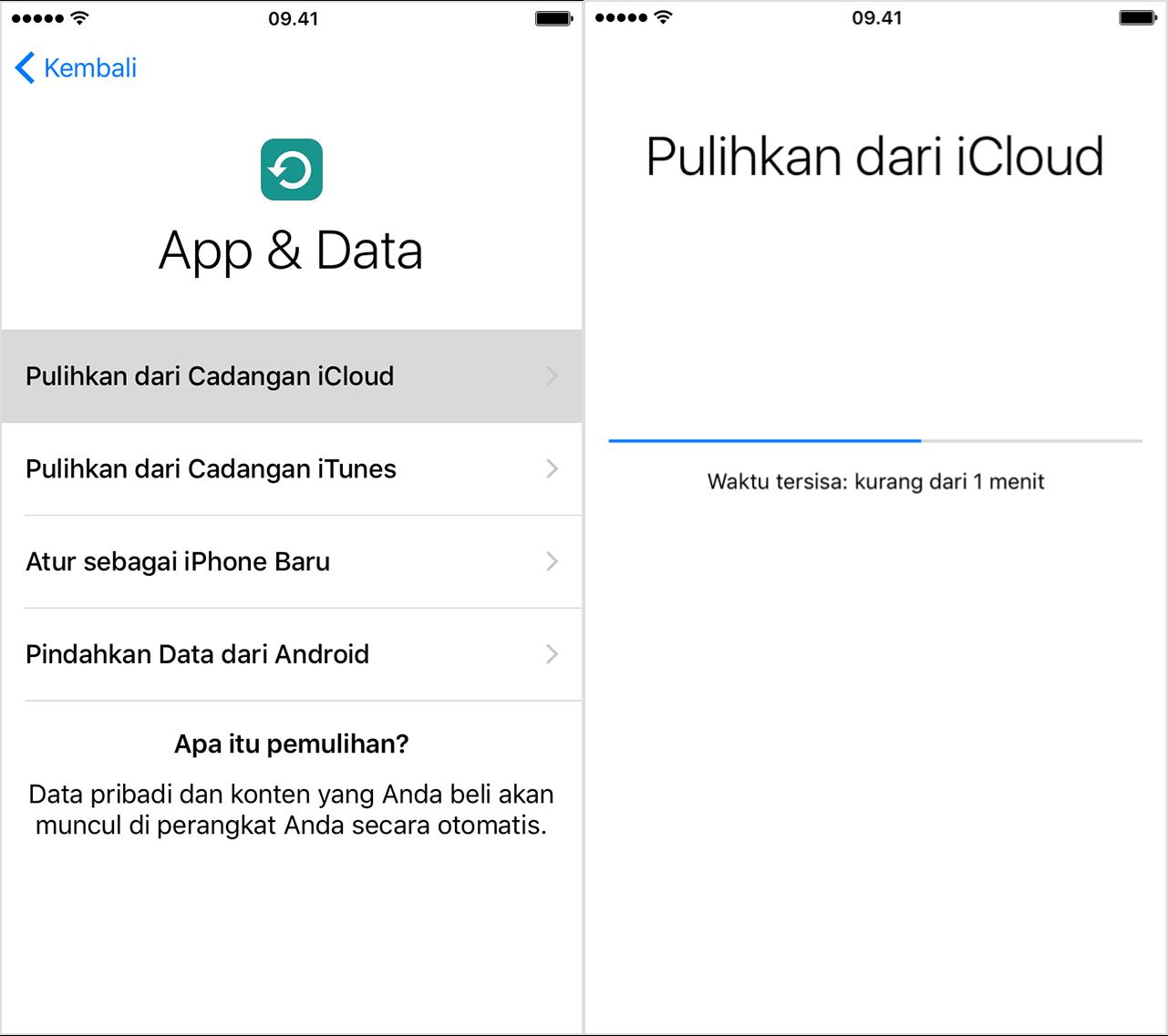 Memulihkan Cadangan iOS Dari iCloud