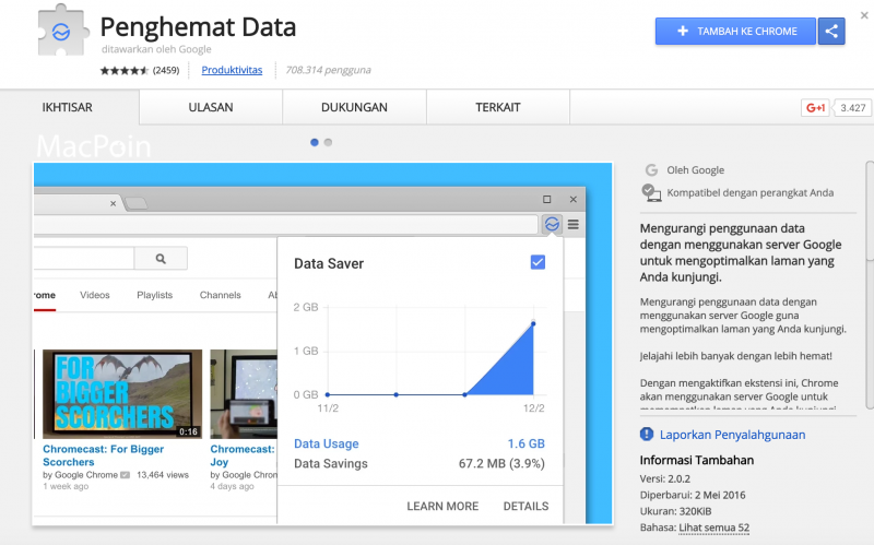 Cara Hemat Kuota Data dengan Ekstensi data saver Google Chrome