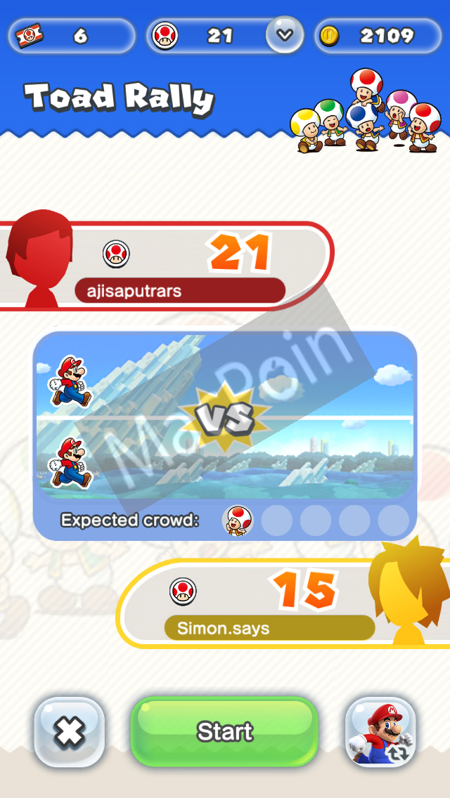 Cara Bermain Toad Rally Gratis di Super Mario Run