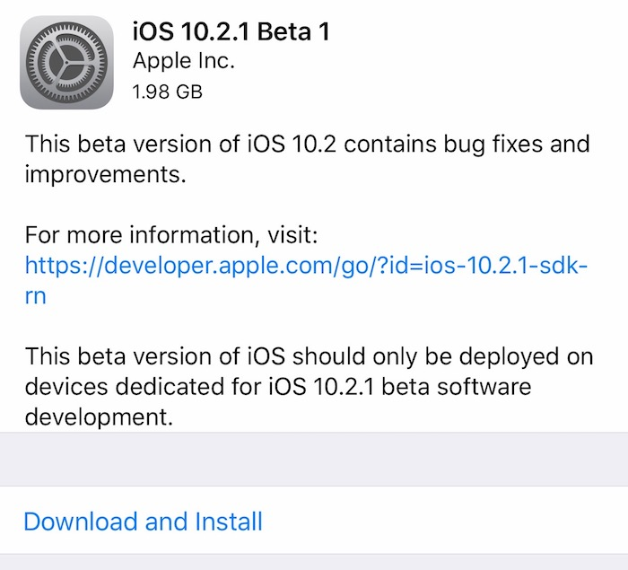 Apple Rilis iOS 10.2.1 Beta Developer Preview