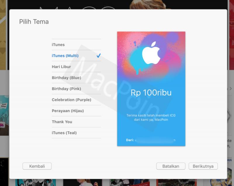 Cara Mengirim Hadiah iTunes Gift Card ke Orang Lain
