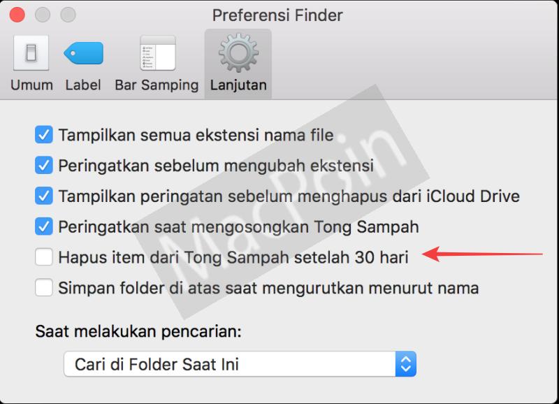 Cara Menghapus File Trash Can Mac Secara Otomatis