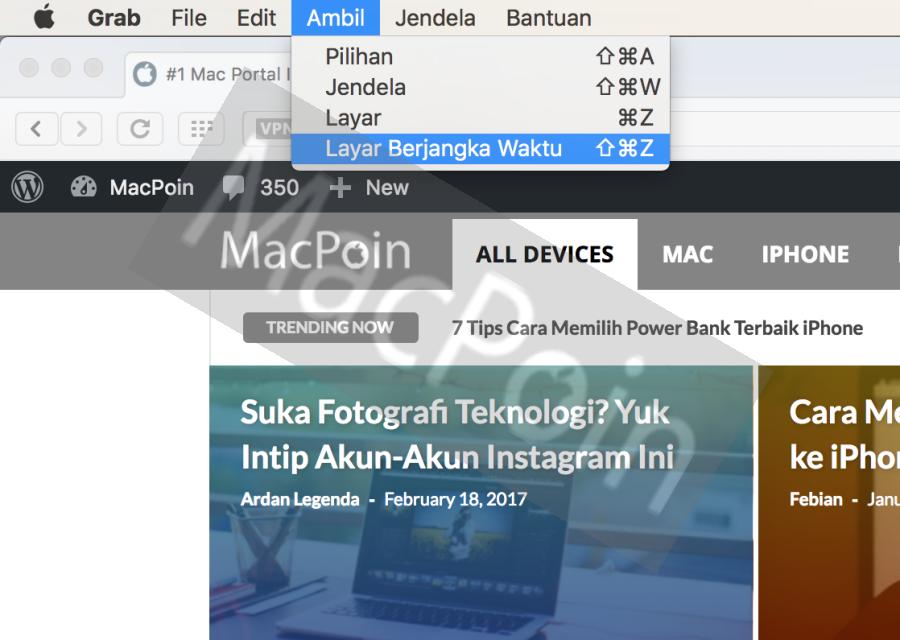 Cara Screenshot Timer via Grab di Mac OS X dan macOS