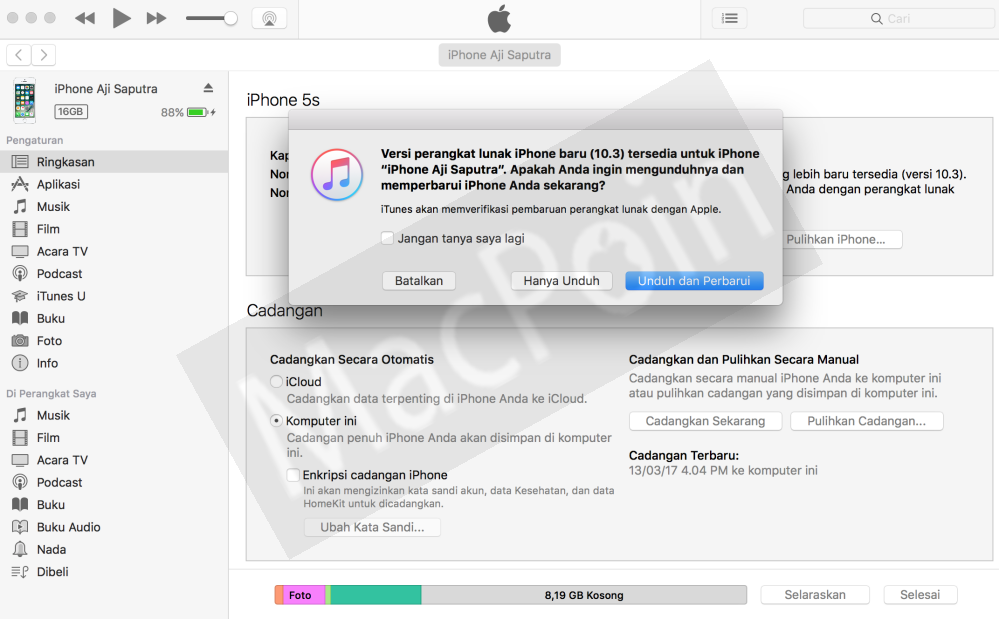 Cara Update iPhone dari iTunes di PC dan Laptop