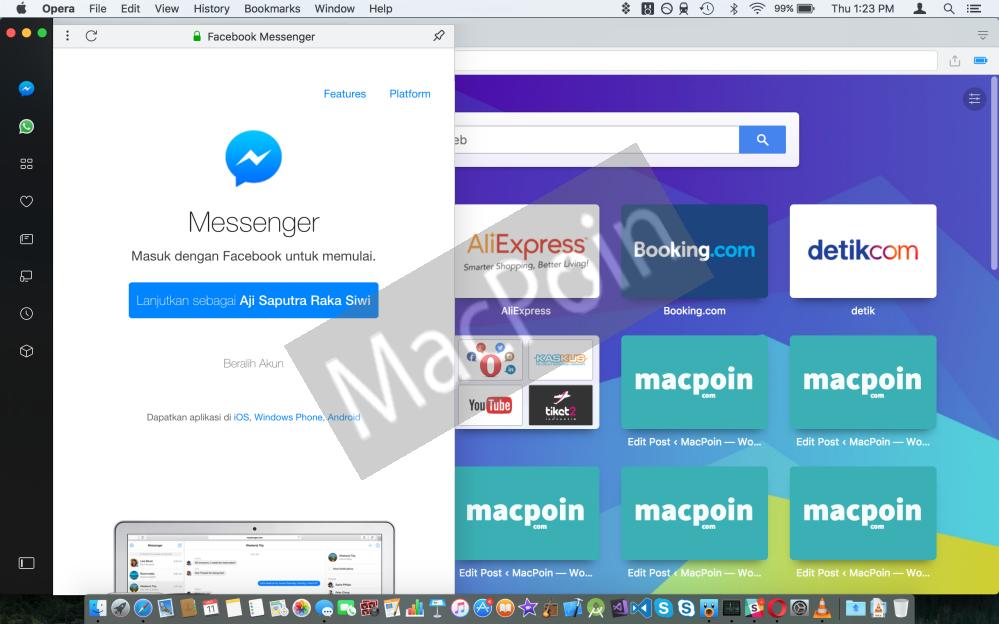 Cara Chatting WhatsApp dan Messenger Langsung di Opera