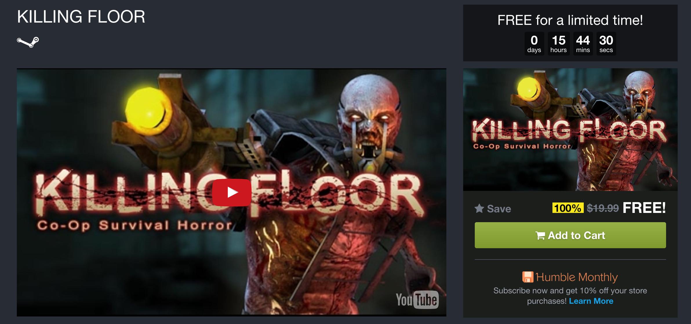 HOT: Download Gratis Game Killing Floor Berbatas Waktu