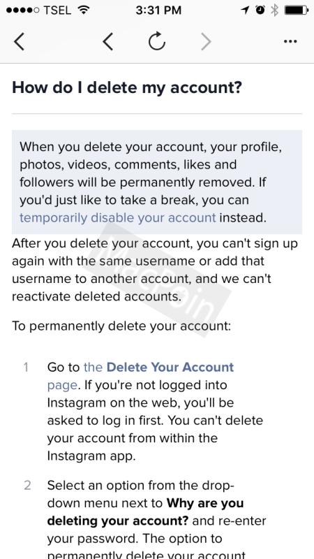 Tutorial Cara Menutup dan Menghapus Akun Instagram