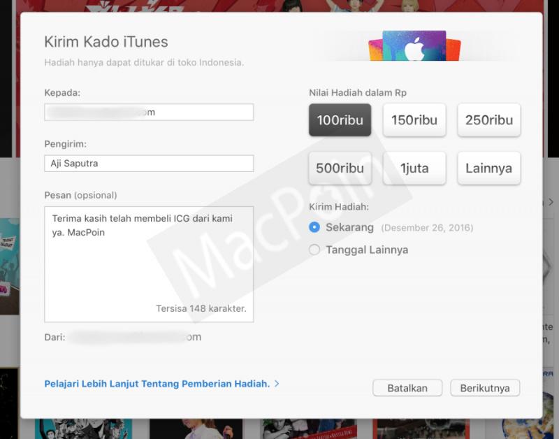 Cara Beli iTunes Gift Card Dengan Kartu Debit