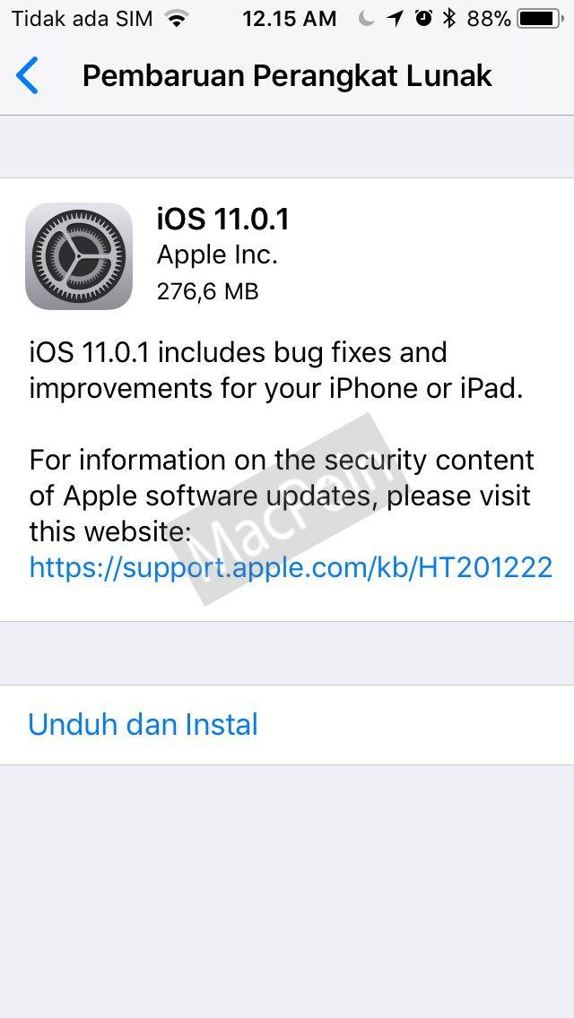 Update iOS 11.0.1 Dirilis Dengan Perbaikan Bug iOS 11
