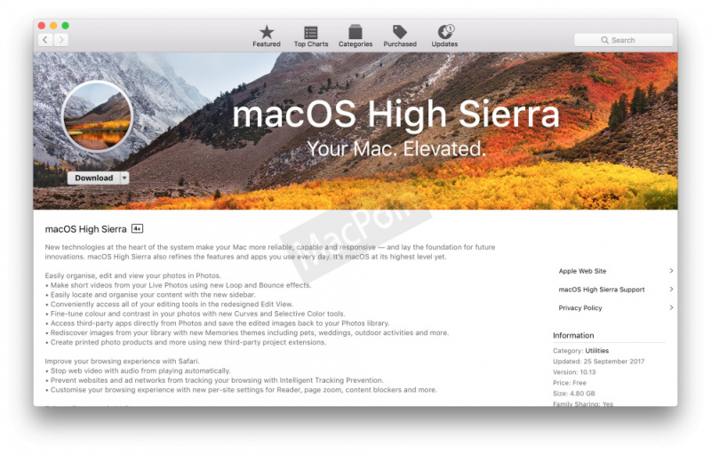 Update macOS High Sierra Sudah Resmi Dirilis! Buruan Download!