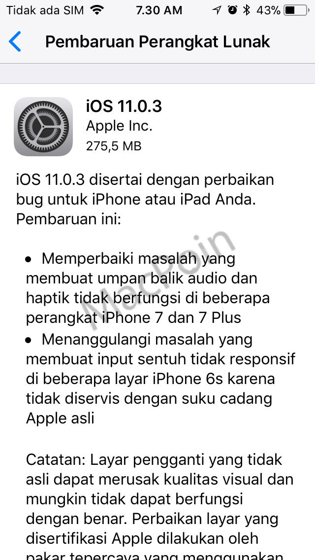 iOS 11.0.3 Dirilis Atasi Masalah Touchscreen iPhone 6S