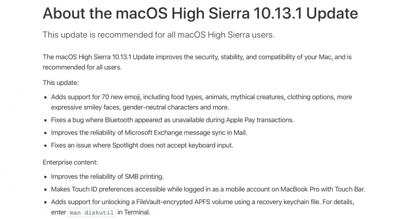 Apple Resmi Rilis Update macOS High Sierra 10.13.1