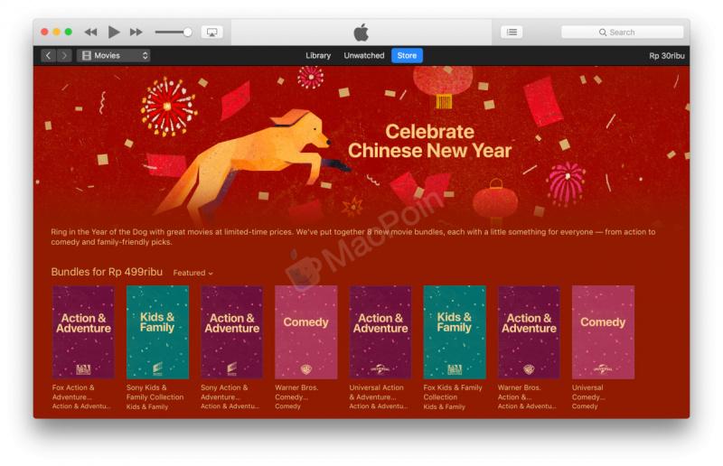 Menyambut Imlek, Apple Rilis Diskon Film Super Murah di iTunes