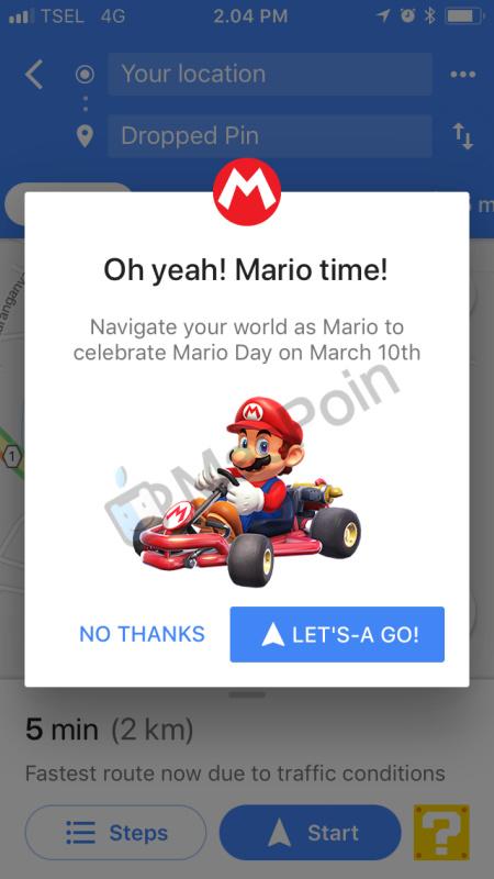 Cara Driving Dengan Super Mario di Google Maps for iOS