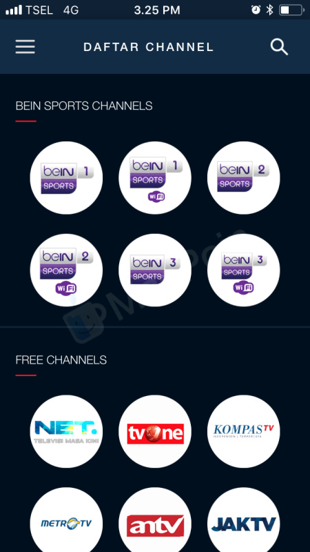 Cara Live Streaming BeIN Sport via MAXstream di iPhone