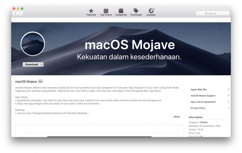 Update macOS Mojave Resmi Dirilis Hari Ini ke Publik