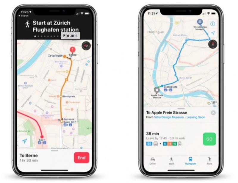Apple Maps di Swiss Kini Mendukung Fitur Transit
